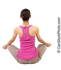Back view of the girl sitting in front of a warm up exercise.