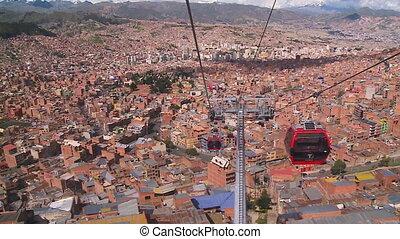 Back view of Transiting Cable Car, La Paz, Bolivia