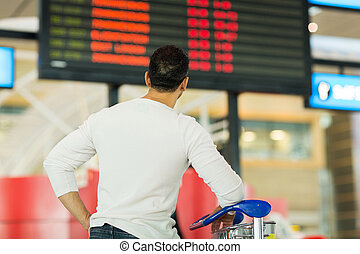 traveller looking at airport information board