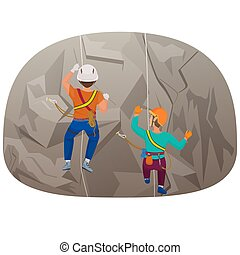 Back view of two people climbing up to the cliff vector illustration.
