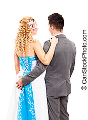 Back view of wedding couple