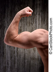 Back view of well formed man demonstrating biceps