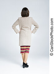 back view of  woma on white background