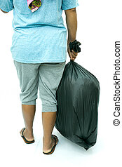 Back view of woman holding garbage bag isolated