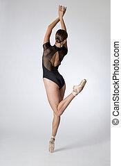 Back View of Woman in Black Leotard Dancing Ballet