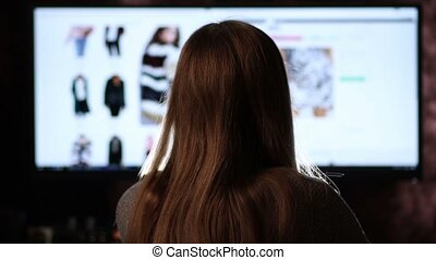 Back view of woman shopping online with computer