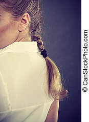 Back view of woman with blonde braid. - Hairstyle and hairdo...
