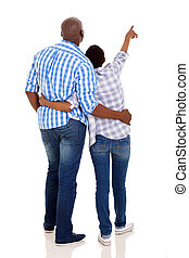 back view of young african american couple pointing