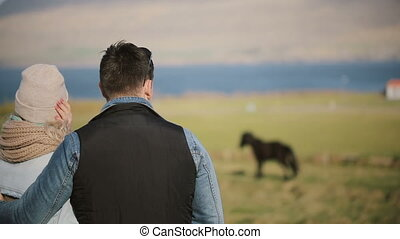 Back view of young couple standing on the field and enjoying the landscape. Man and woman look at Icelandic horses.