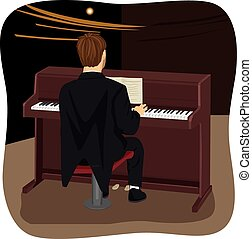 back view of young man playing brown upright piano