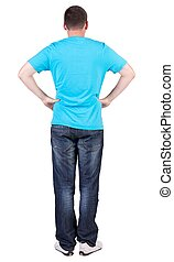 Back view of young men in  blue t-shirt and jeans.