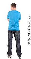 Back view of young men in  t-shirt and jeans