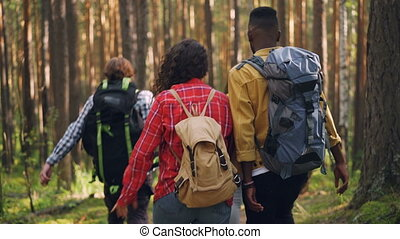 Back view of young people tourists walking in the forest with backpacks, looking around and talking. Friendship, active lifestyle and recreational activity concept.