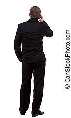 back  view people collection. Rear view of business man in black suit  talking on mobile phone.  Isolated over white background. backside view of person.