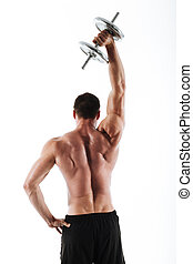 Back view photo of strong crossfit man lifting up heavy dumbbell above his head