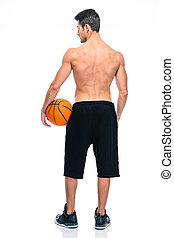 Back view portrait of a basketball player