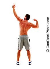 Back view portrait of a muscular man posing over white background