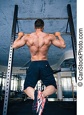 Back view portrait of a muscular man pulling up