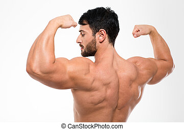 Back view portrait of a muscular man