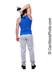 Back view portrait of a sport man standing with dumbbells over white background