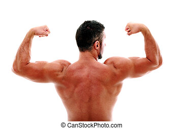 Back view portrait of muscular man showing his biceps
