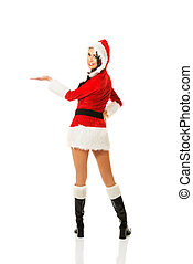 Back view santa woman holding something invisible