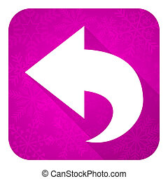 back violet flat icon, christmas button, arrow sign