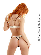 back, witte , roodharige, lingerie, black , passen