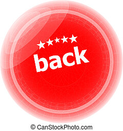 back word on red stickers button, label