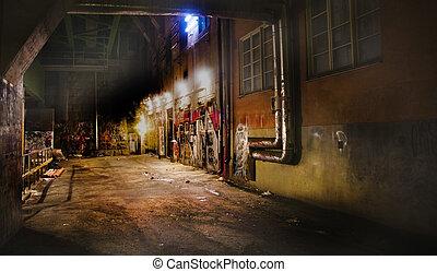 Back yard - Dark back yard with graffiti