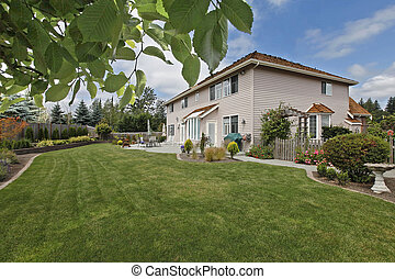 Large back yard of a nice home near Seattle, WA. Canon 5D Mark II. 16mm.