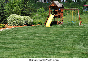 Back Yard Wooden Swing Set
