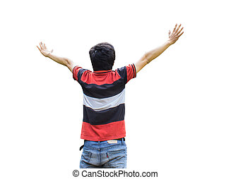 Back young asian man his hands up isolated on white