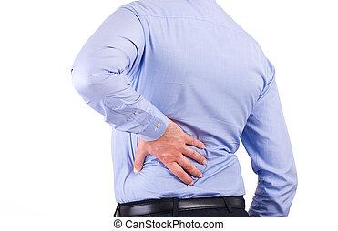 back., zakenman, het pijn doen
