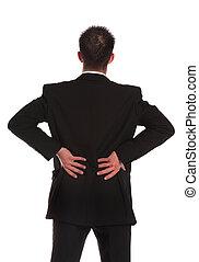 Backache - A businessman suffering from backache. All on...