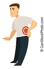Backache back pain inflammation isolated male character