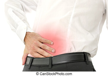 Businessman holding his painful lower back. Concept of backache. Isolated over white background.