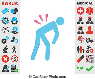 Backache vector icon. Style is bicolor flat symbol, pink and blue colors, rounded angles, white background.