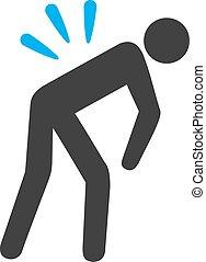 Backache Icon - Backache vector icon. Style is bicolor flat...