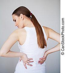 backache, mulher, escritório, pain., costas, sofrimento