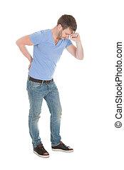 backache, sofrimento, homem, adulto mid