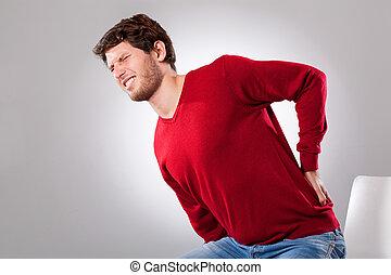 backache, sofrimento, homem