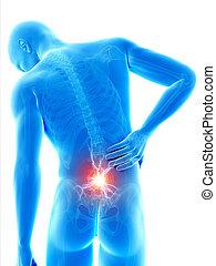 Backache - A man having acute pain in the back
