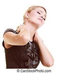 backache., ung kvinna, lidande, från, smärta tillbaka,...