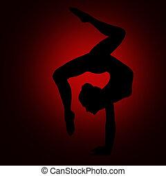 backbend, 身體, 婦女, 瑜伽, 体操運動員, 姿態, 黑色半面畫像, 靈活, 女孩, 平衡, 手倒立, 體操