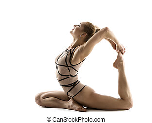 backbend, 身體, 婦女, 瑜伽, 練習, 体操運動員, 年輕, 被隔离, 背景, 健身, 靈活, 白色, 體操