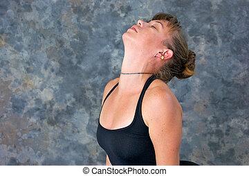 backbend, tête, femme, épaules