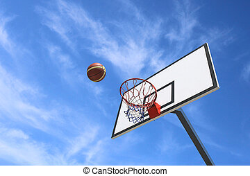 Basketball backboard and blue sky background