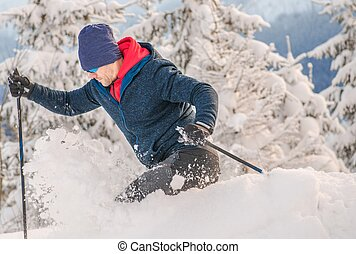 Backcountry Skier Ride in Heavy Snow. Off Piste Ski. Winter...