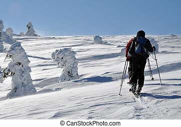 Backcountry skier touring in beautiful winter mountains